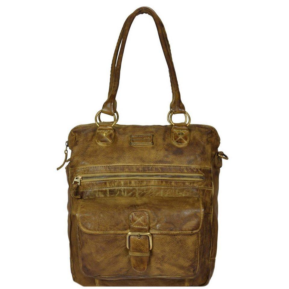 Greenland Greenland Soft Bags Handtasche Leder 33 cm in gelbbraun