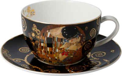 Goebel Cappuccinotasse »Der Kuss«, Fine China-Porzellan, von Gustav Klimt, schwarz