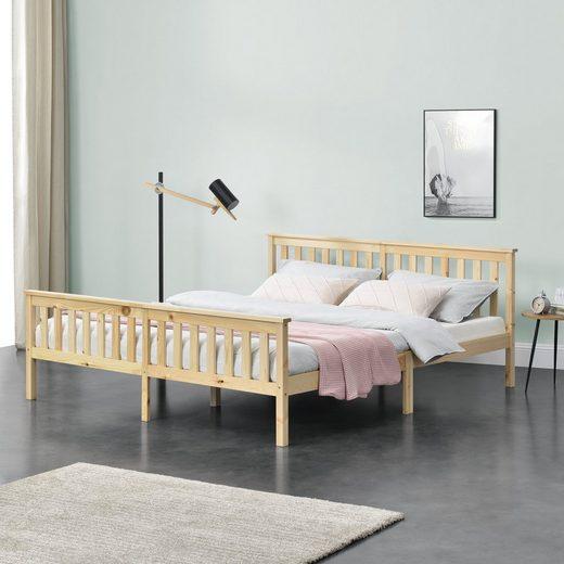 en.casa Holzbett, »Breda« Ehebett Doppelbett mit Lattenrost in verschiedenen Farben und Größen