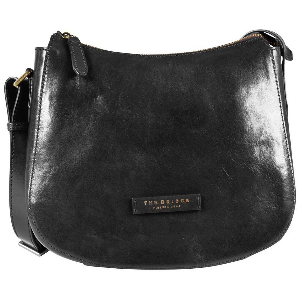 The Bridge The Bridge Plume Luxe Donna Umhängetasche Leder 31 cm in nero-goldfarben