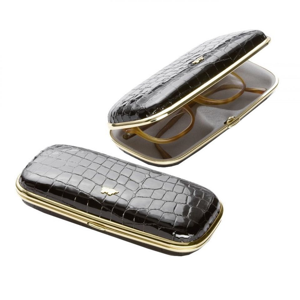 Braun Büffel Glanzkroko Brillenetui Leder 16 cm in schwarz