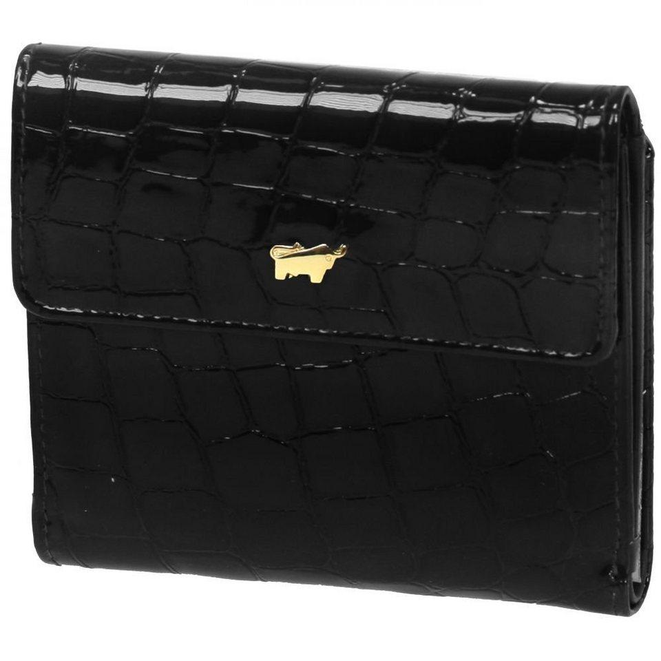 Braun Büffel Glanzkroko Geldbörse Leder 11 cm in schwarz