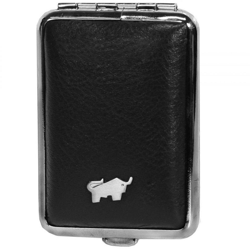 Braun Büffel Golf Pillendose Leder 7 cm in schwarz
