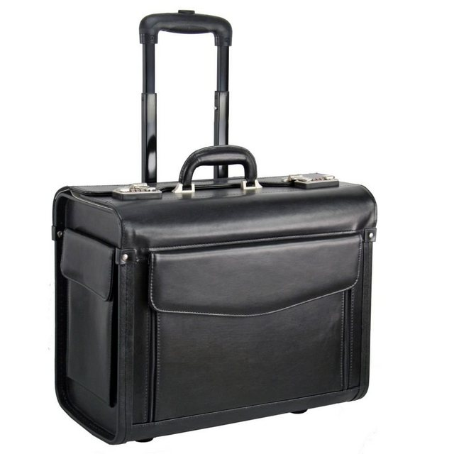 Dermata Pilotenkoffer Trolley Leder 45,5 cm Laptopfach | Taschen > Koffer & Trolleys > Trolleys | Schwarz | Dermata