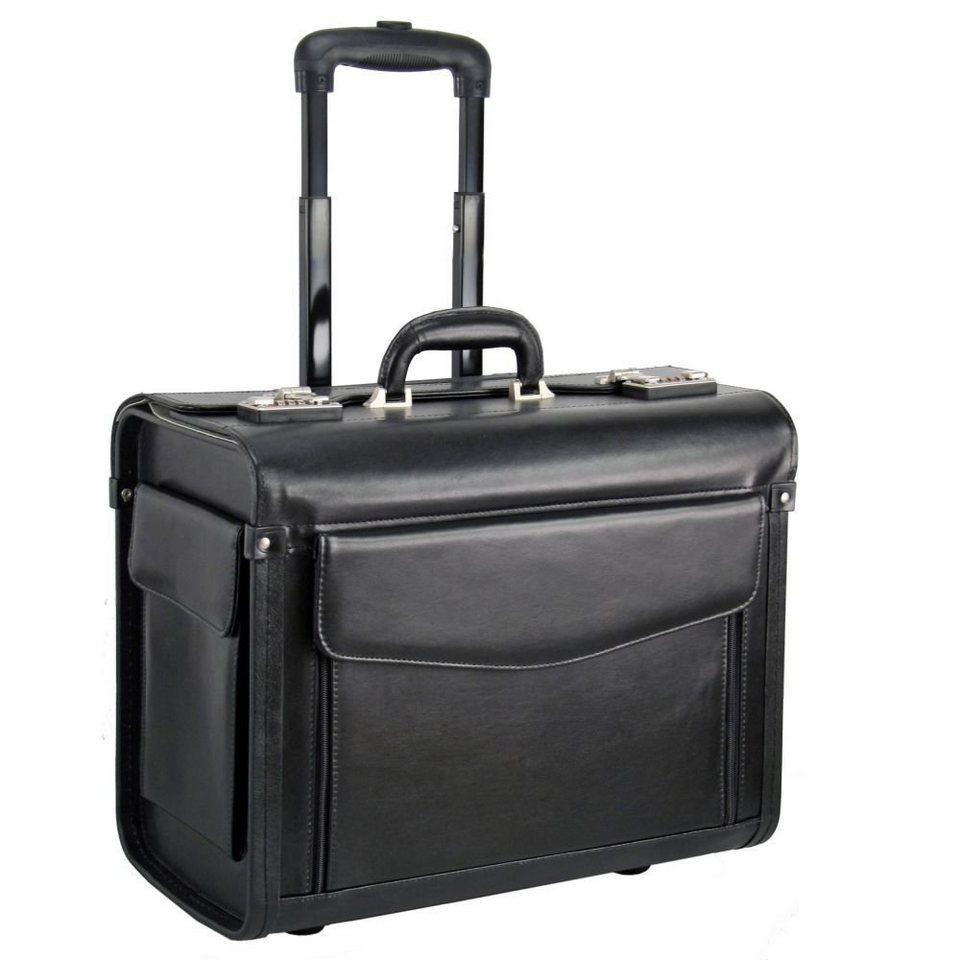 Dermata Dermata Pilotenkoffer Trolley Leder 45,5 cm Laptopfach in schwarz