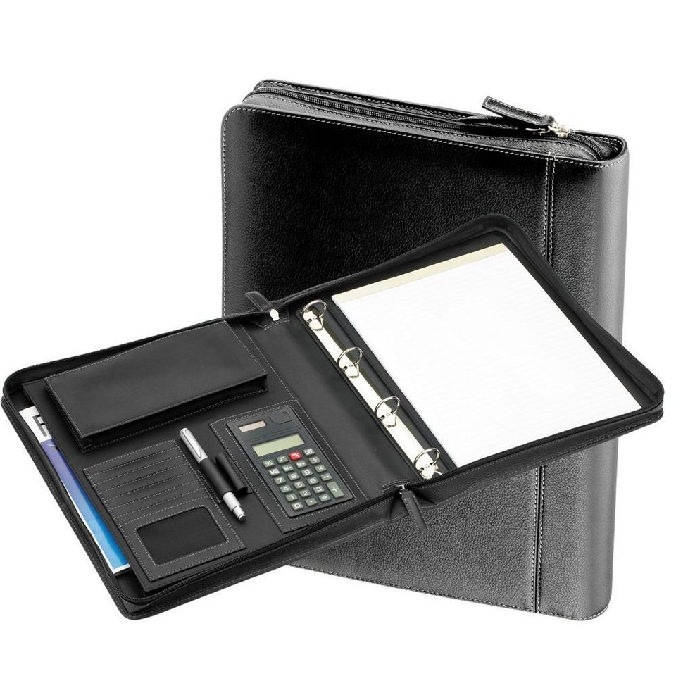 d & n d&n Easy Business Schreibmappe Leder 34 cm in schwarz