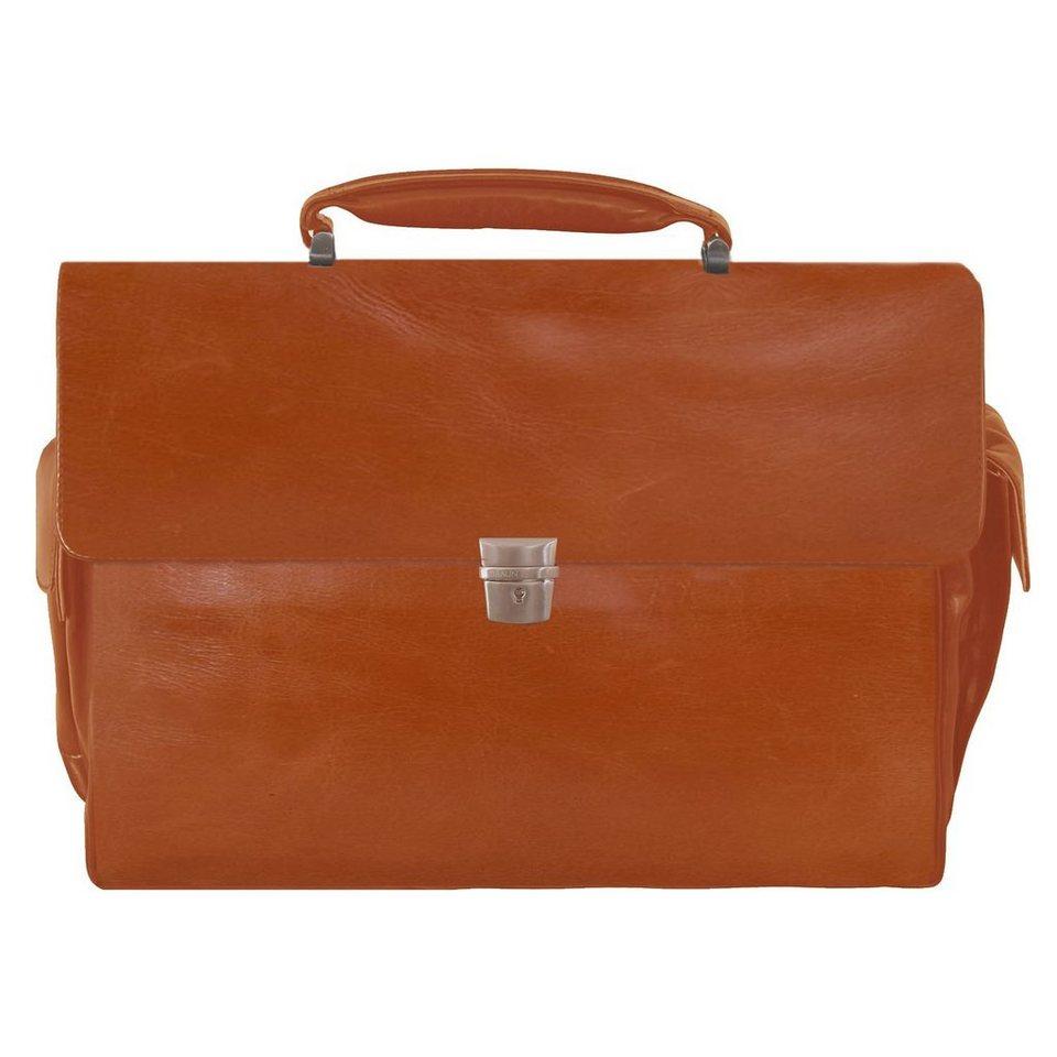 Braun Büffel Texas Aktentasche Leder 43 cm Laptopfach in cognac