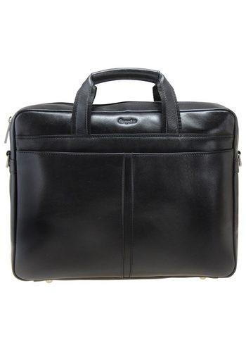 Herren Esquire Business Aktenmappe Leder 37 cm Laptopfach schwarz | 04043902152169