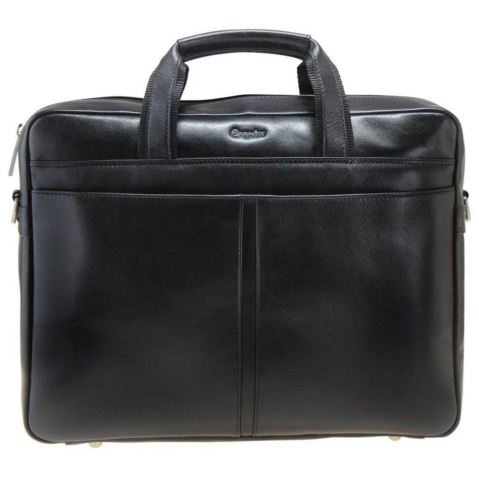 Esquire Business Aktenmappe Leder 37 cm Laptopfach in black