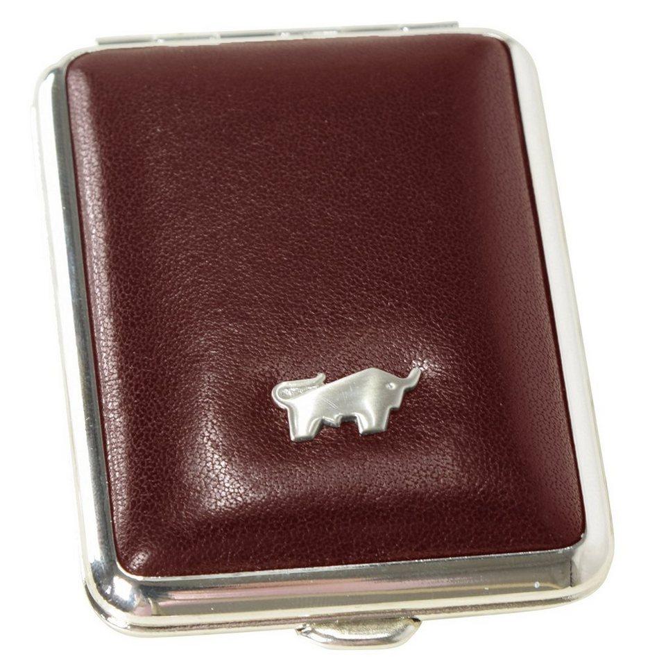 Braun Büffel Gaucho Pillendose Leder 6,5 cm in bordeaux