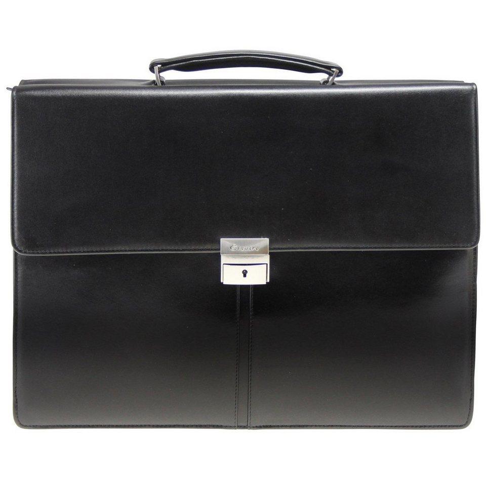 Esquire Esquire Business Aktentasche Leder 40 cm Laptopfach in black
