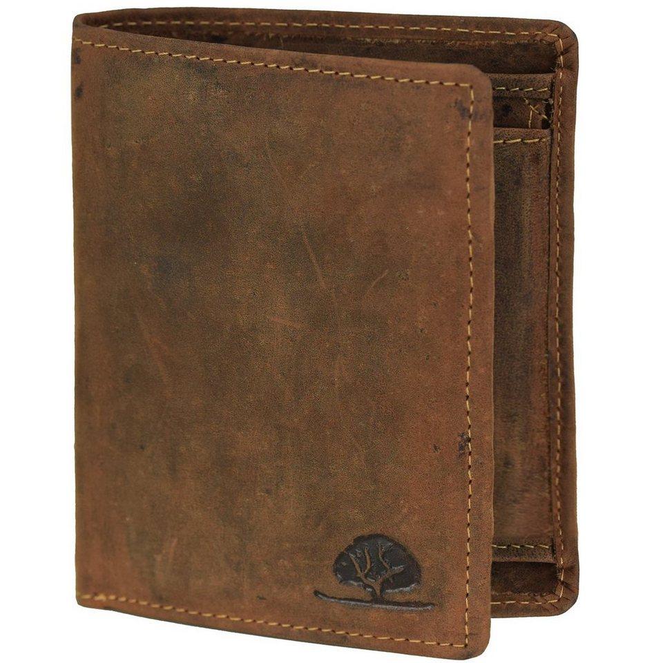 Greenburry Greenburry Vintage Geldbörse Hochformat Leder 9,5 cm mit Klappfa in brown