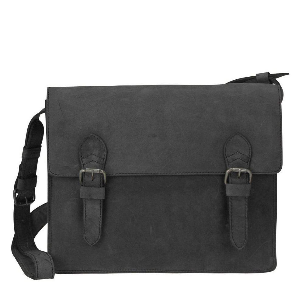 Harold's Eastend Umhängetasche Leder 40 cm Laptopfach in schwarz