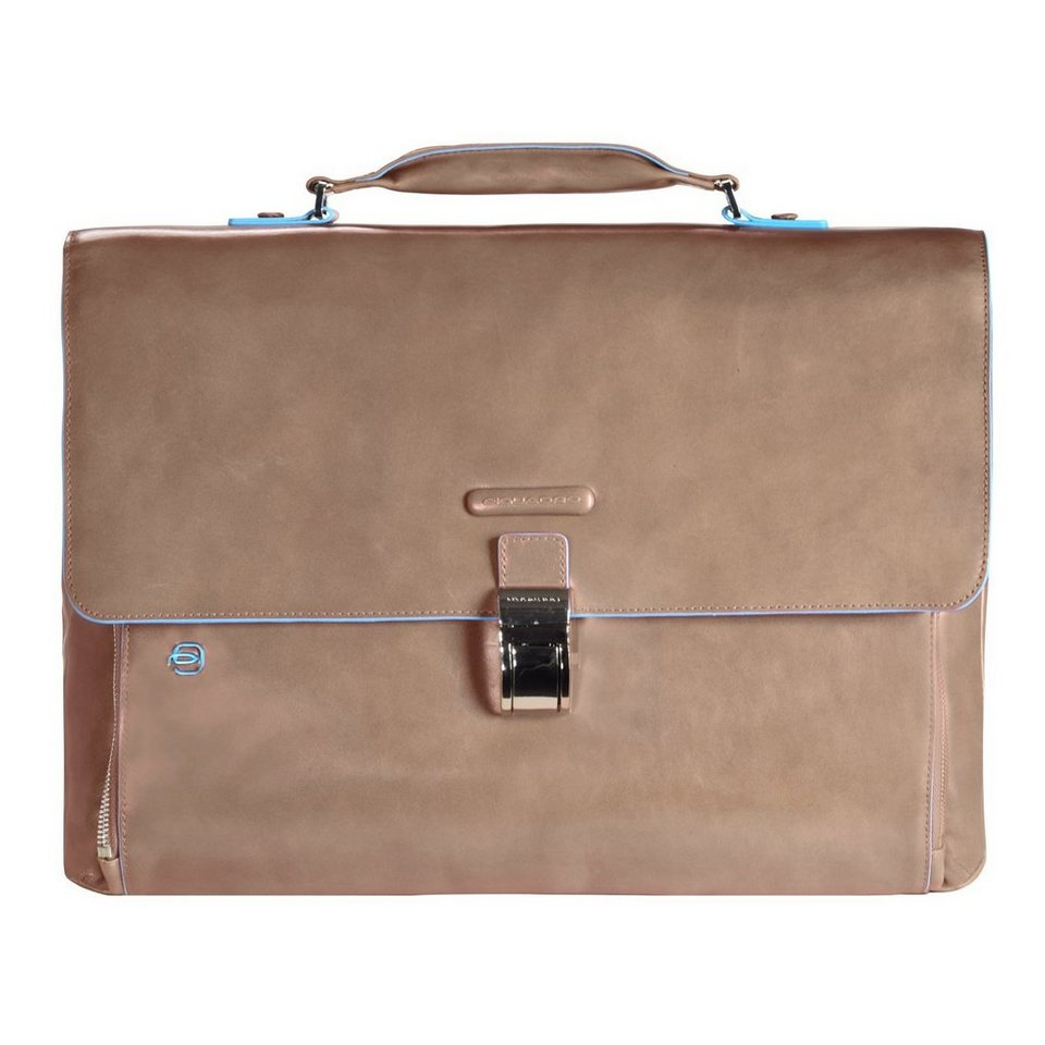 Piquadro Blue Square Aktentasche Leder 40 cm Laptopfach in taupe2