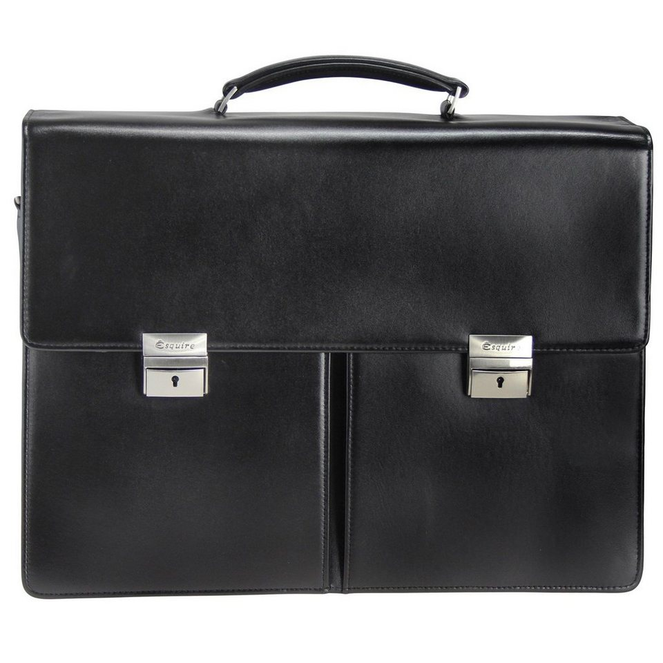 Esquire Esquire Business Aktentasche Leder 41 cm Laptopfach in black