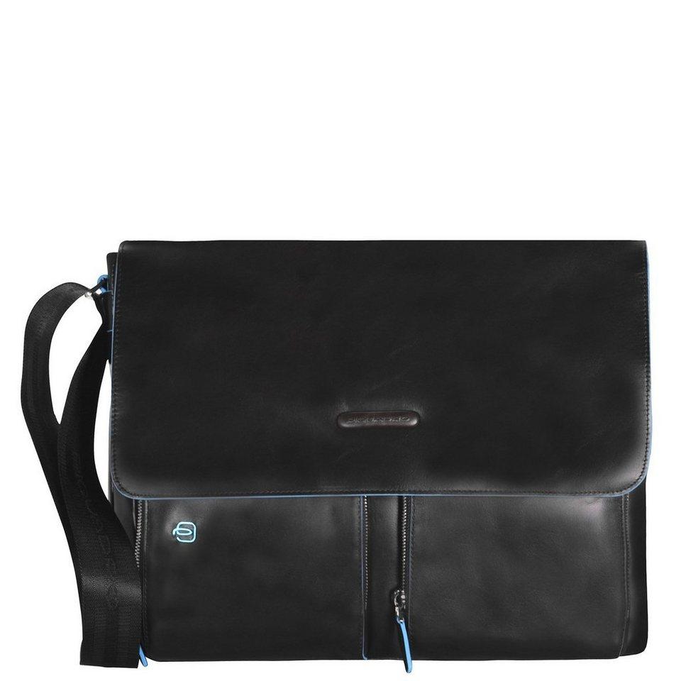 Piquadro Blue Square Messenger Leder 37 cm Laptopfach in black