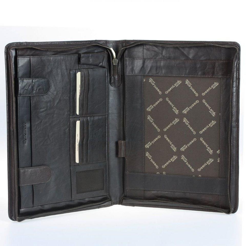 GREENLAND Columbus Schreibmappe Leder 26,5 cm in tobacco