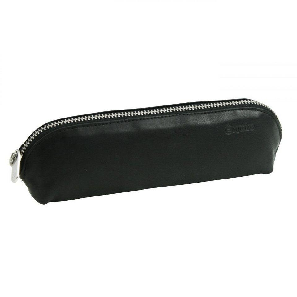Esquire Silk Stifteetui Leder 20 cm in schwarz