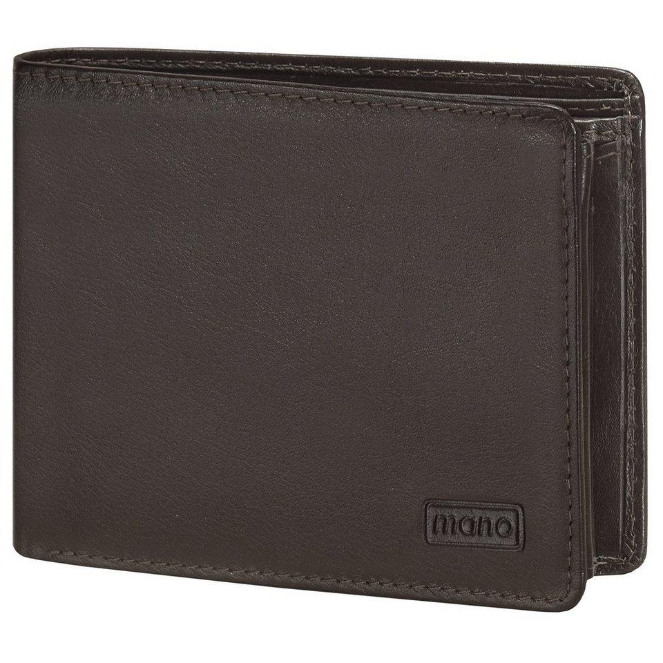 mano mano Basic DeLuxe Geldbörse Leder 12,5 cm mit Doppel-Klappfach u in braun
