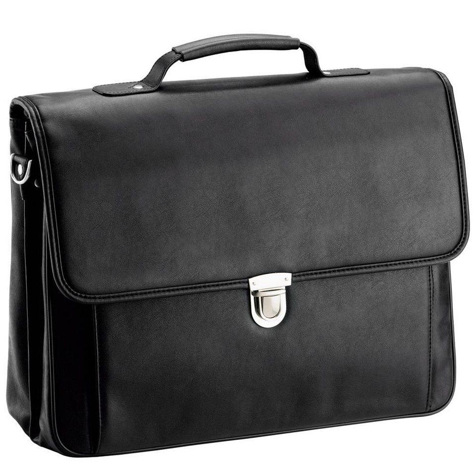 d & n Basic Aktentasche Leder 40 cm Laptopfach in schwarz
