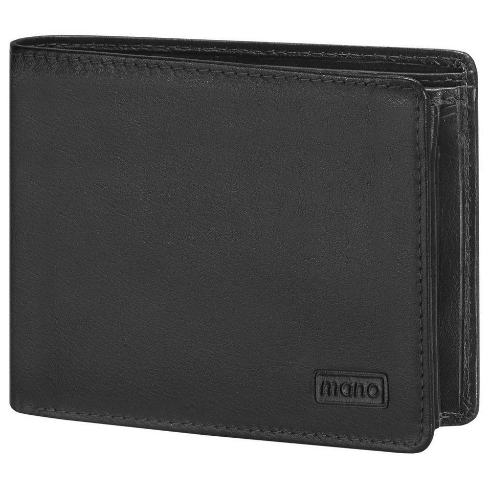 MANO Basic DeLuxe Geldbörse Leder 12,5 cm mit Doppel-Klappfach und Re in schwarz