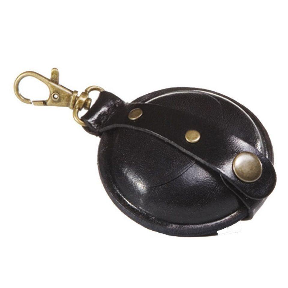 Mika Lederwaren Geldbörsen-Anhänger klein Leder 7 cm in schwarz