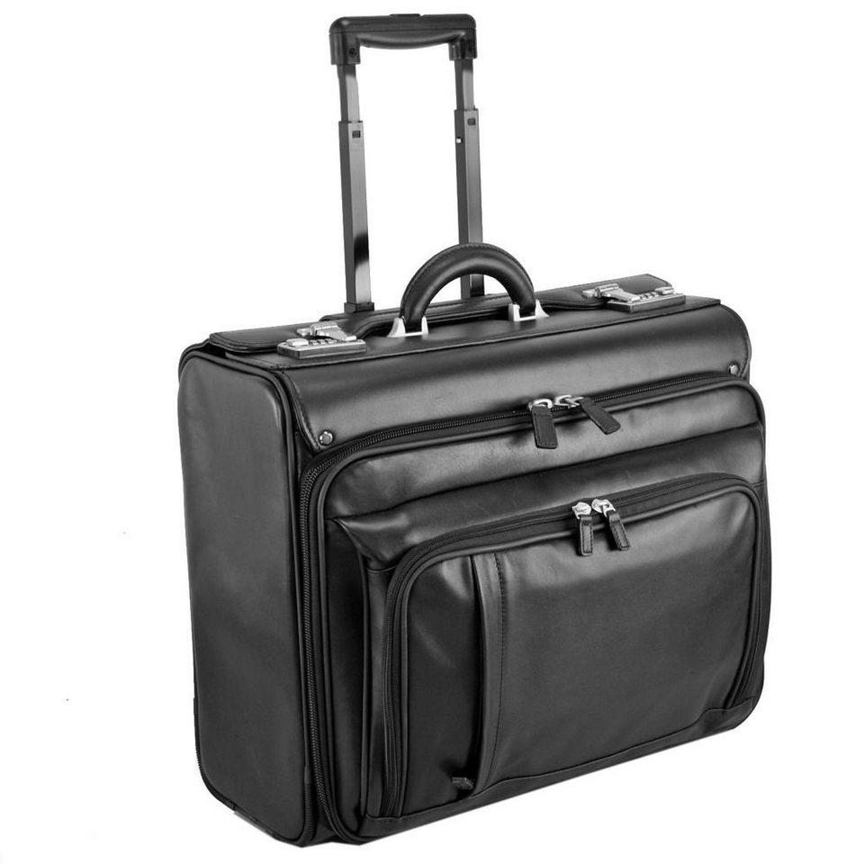 Dermata Pilotenkoffer Trolley Leder 47 cm Laptopfach in schwarz