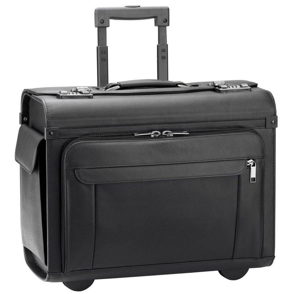 d & n d&n Business & Travel Pilotenkoffer Trolley Leder 46 cm Laptopfa in schwarz
