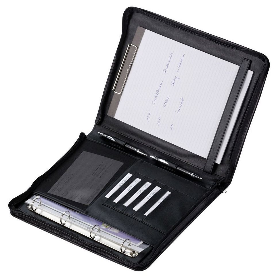 Dermata Schreibmappe Leder 36 cm in schwarz