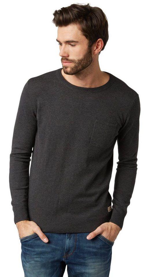 TOM TAILOR Pullover »Feinstrickpullover mit Brusttasche« in black grey melange