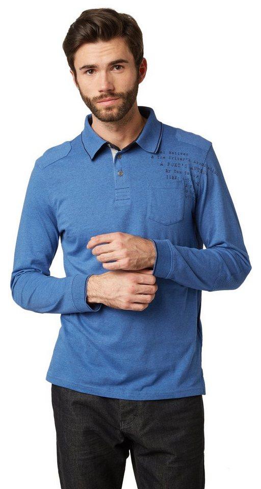 TOM TAILOR Poloshirt »Langarm-Polo mit Brusttasche« in true navy blue