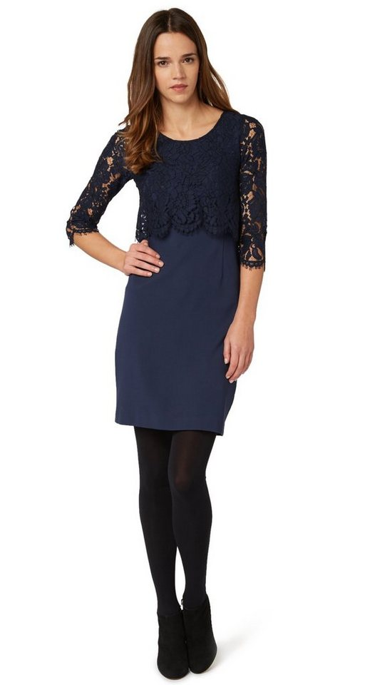 TOM TAILOR Kleid »romantisches Kleid mit Spitze« in deep navy blue