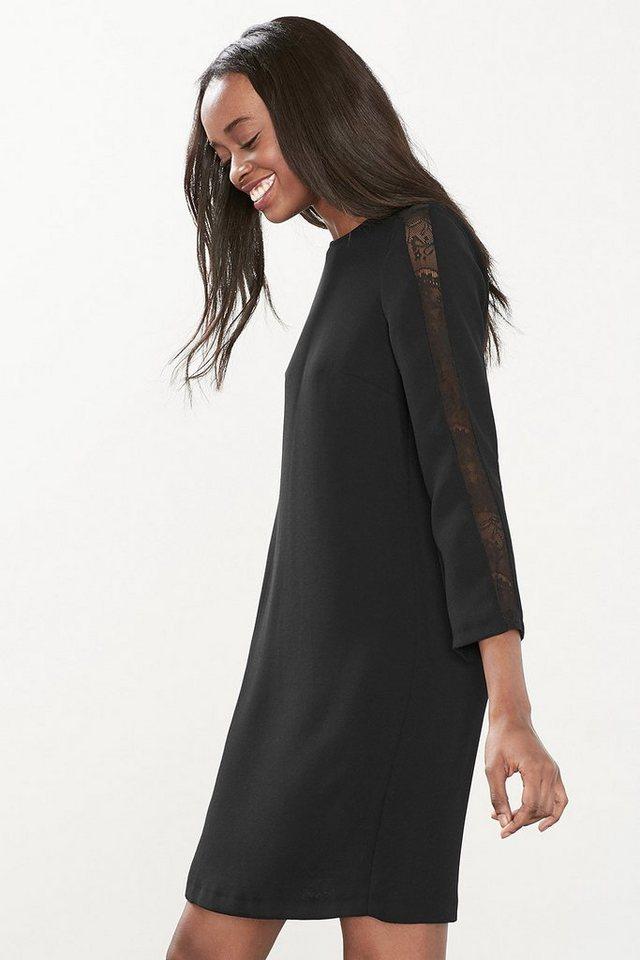 ESPRIT COLLECTION Shirt-Kleid aus Crepe mit Spitzeneinsatz in BLACK