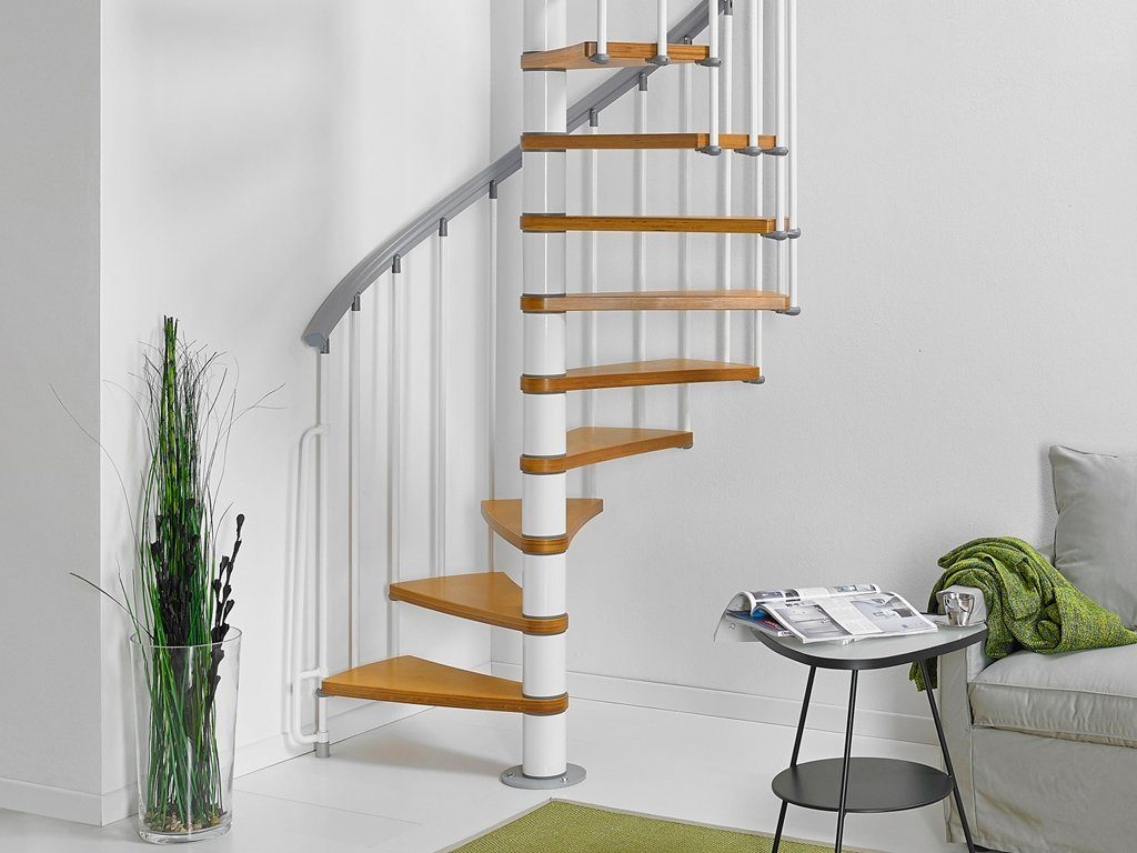 STARWOOD Spindeltreppe »Zip-O«, Ø: 130 cm, 12 Stufen, Nussbaum-Optik