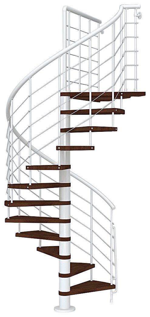 STARWOOD Spindeltreppe »Symphonie«, Ø: 160 cm, buchefarben dunkel/weiß