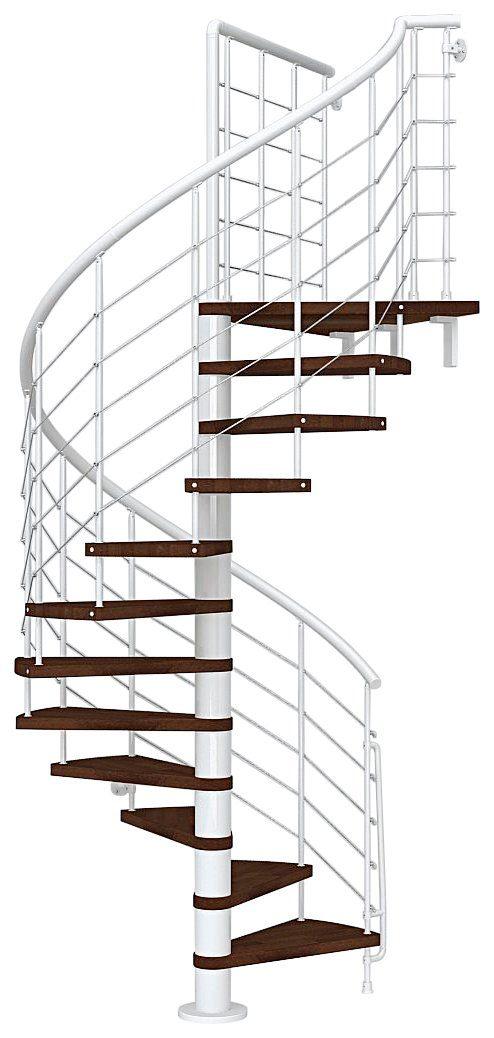 STARWOOD Spindeltreppe »Symphonie«, Ø: 140 cm, buchefarben dunkel/weiß