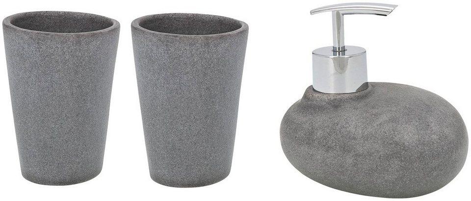 Bad-Accessoire-Set »Pebble Stone«, 3-teilig in grau