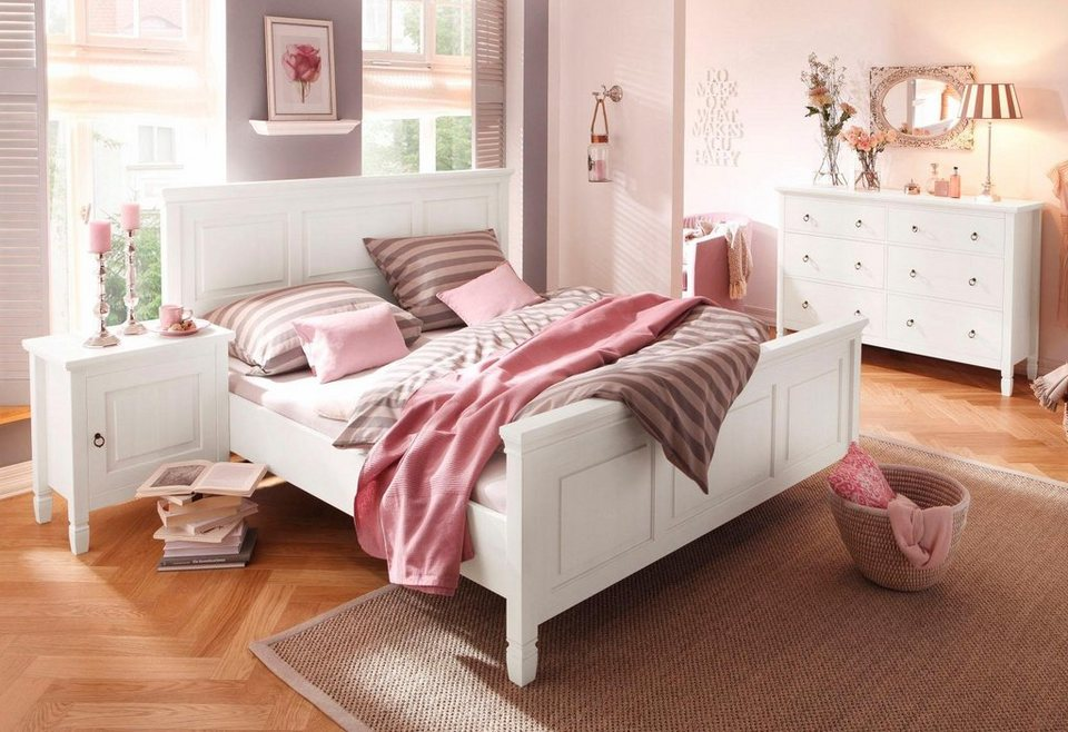 home affaire massivholz bett vaile mit dekorativen fr sungen in 140 oder 180 cm breite online. Black Bedroom Furniture Sets. Home Design Ideas