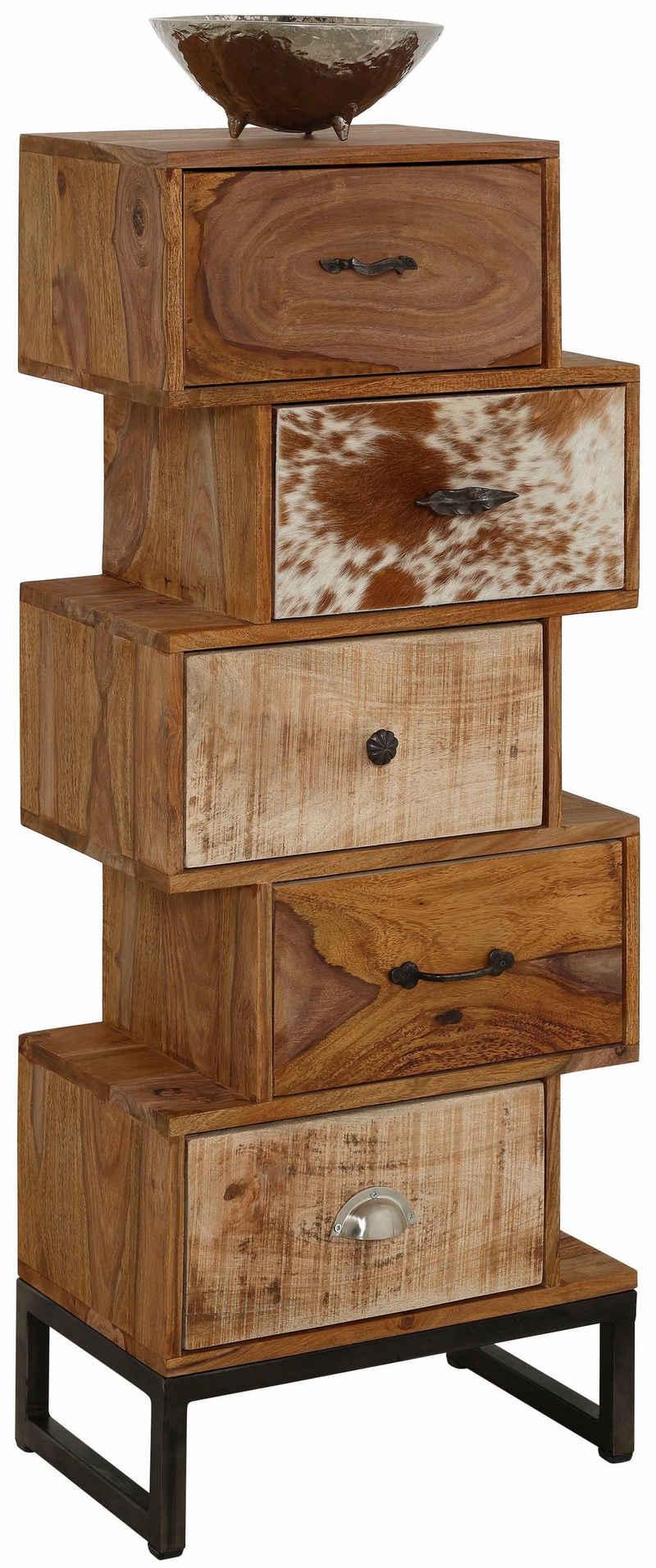 Home affaire Kommode »Naresh«, aufeinander gestapelte Schubladen, Breite 50 cm
