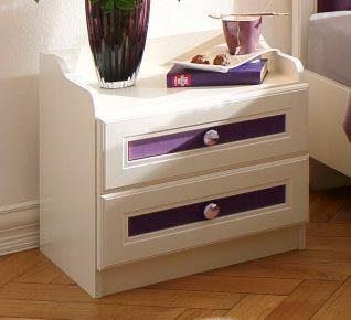 Home affaire Nachtkommode »Viola«, mit lilafarbenen Stoffelementen an der Front, Breite 50 cm