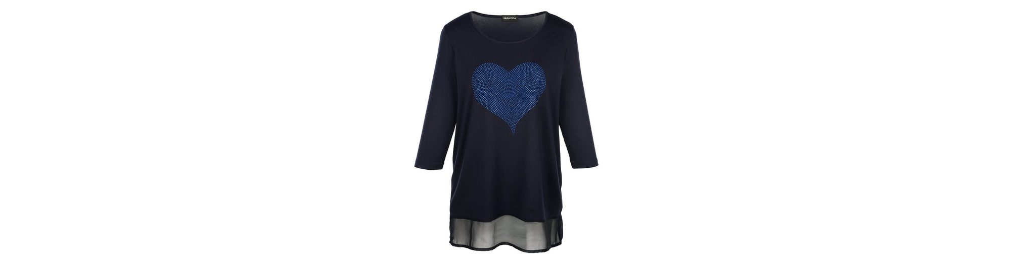 MIAMODA Longshirt mit Herzmotiv aus Dekosteinchen Auslass 100% Authentisch Billig 2018 U3752IC5
