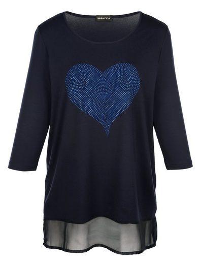 MIAMODA Longshirt mit Herzmotiv aus Dekosteinchen