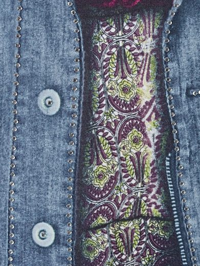 MIAMODA Kleid mit Jeansjacken-Druck rundum