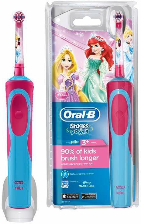 Oral-B Elektrische Zahnbürste Stages Power, für Kinder (Motiv Disney-Prinzessinnen) in blau/rot