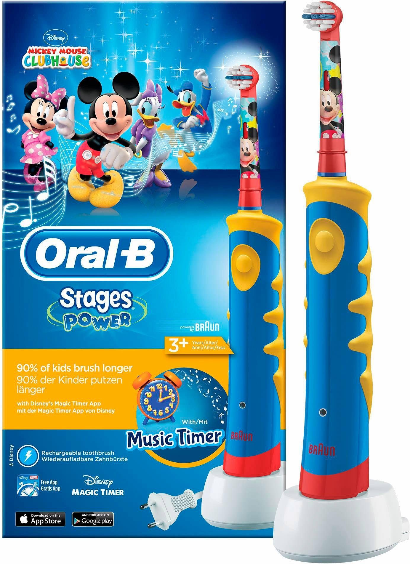 Oral-B Elektrische Zahnbürste Stages Power Kids, mit Disney-Micky-Maus