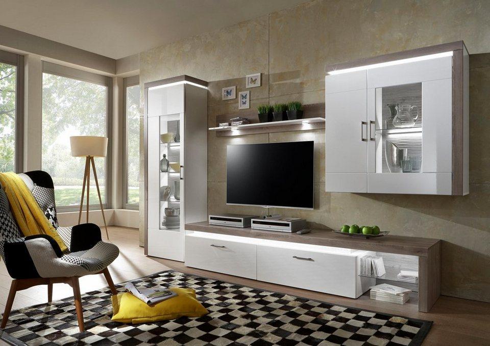 Places of Style Wohnwand »BRUNO«, (Set, 4-tlg), mit integrierter  Korpusbeleuchtung und Hochglanz Fronten online kaufen | OTTO
