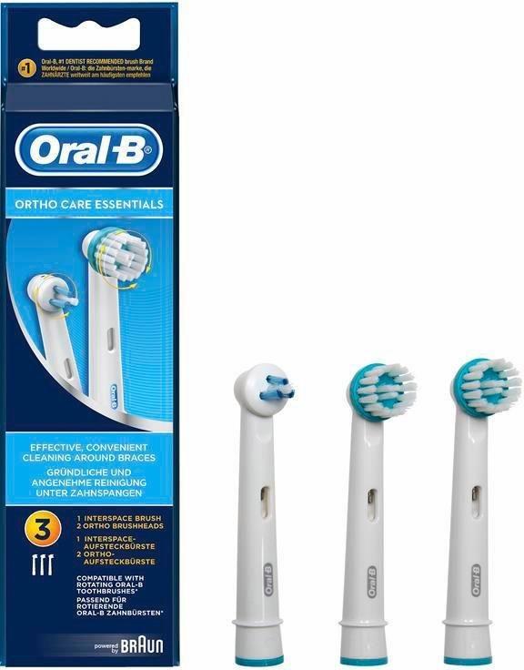 Oral-B Aufsteckbürsten Ortho Care Essentials, 3er Pack in weiß