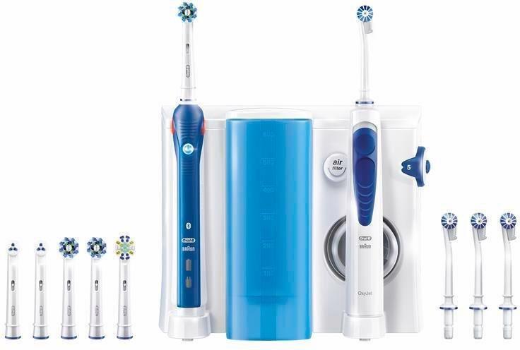 Oral-B Mundpflegecenter Professional Care Center Oxyjet, + Elektrische Zahnbürste PRO 5000 in blau/weiß