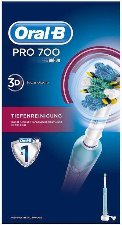 Oral-B Elektrische Zahnbürste PRO 700, Tiefenreinigung, powered by Braun in hellblau/weiß