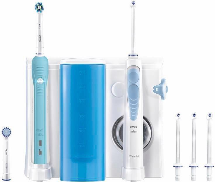 Oral-B Mundpflegecenter WaterJet Munddusche, + Oral-B PRO 700 in weiß/blau